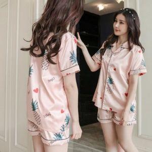 Other - Tropical Print Satin Silk Pajamas Set